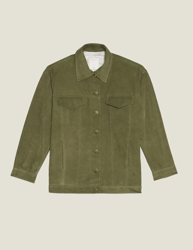Leather Overshirt-Style Jacket : Coats & Jackets color Olive Green