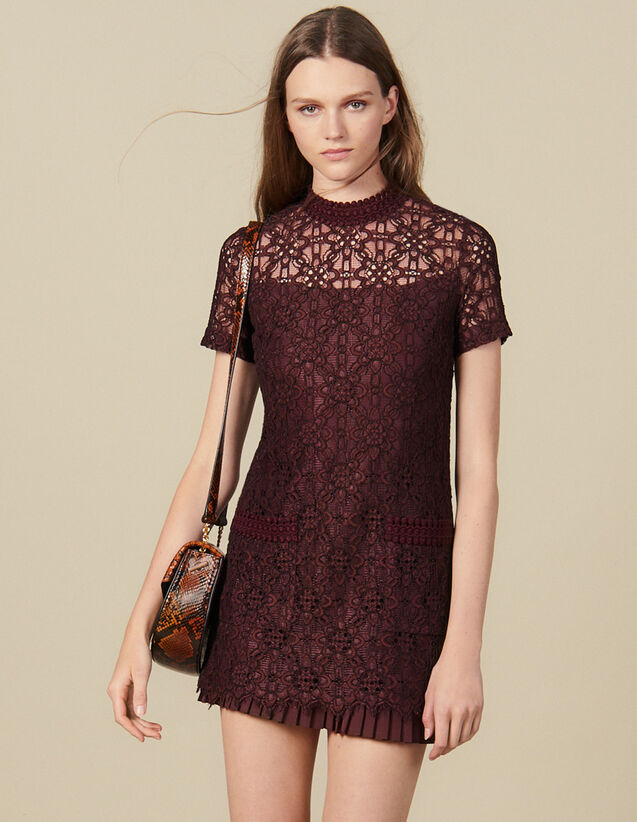 Short lace dress : Dresses color Plum2