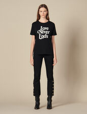 T-Shirt With Contrasting Lettering : Tops & Shirts color Black