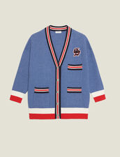 Cardigan with crochet finish : Spring Pre-Collection color Blue