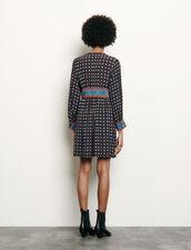 Printed short silk dress : Dresses color Black