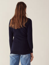 Wool And Cashmere Sweater : Sweaters color Navy Blue