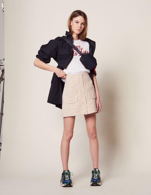 Short Tweed Skirt : Skirts color Pink