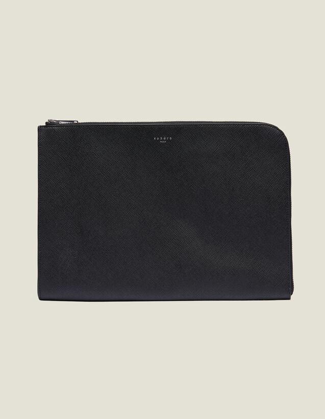 Saffiano Leather Zipped Document Case : Bags color Black