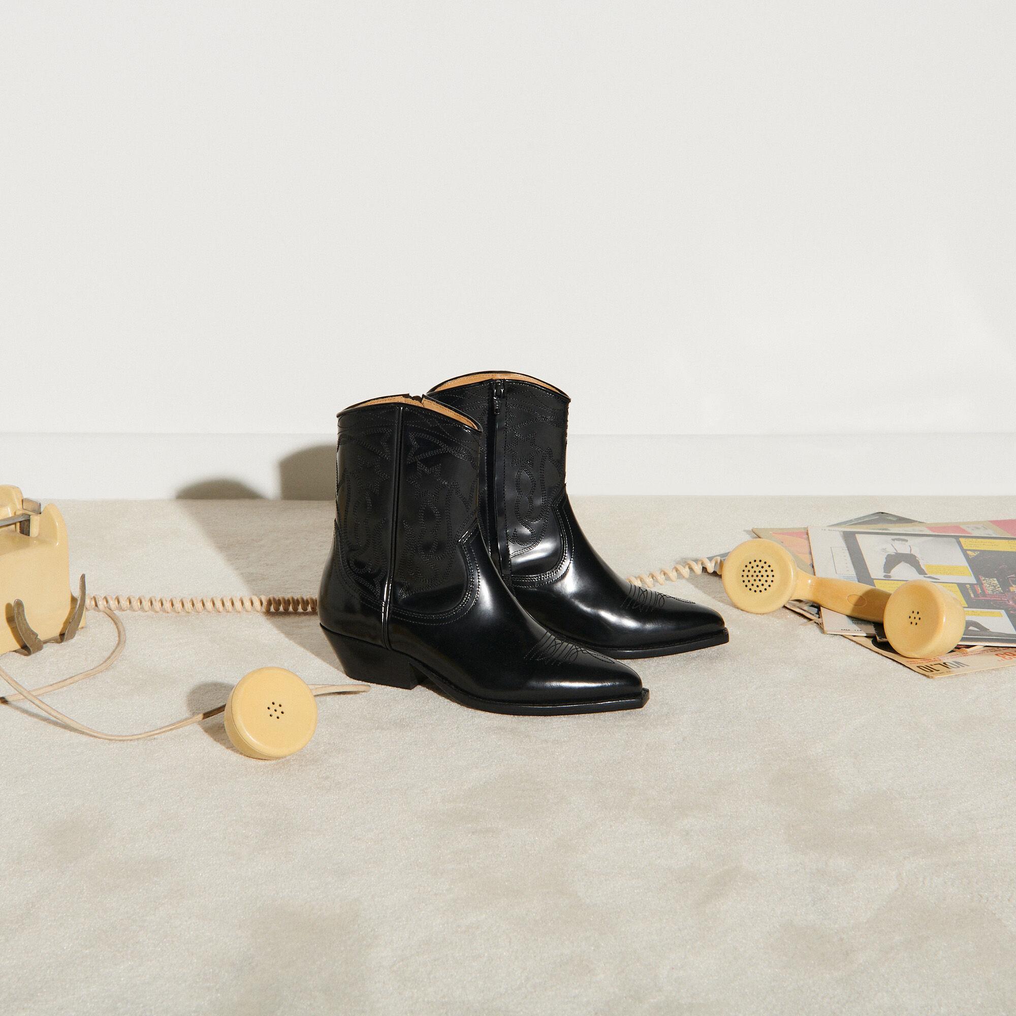 Leather cowboy boots - Boots | Sandro Paris