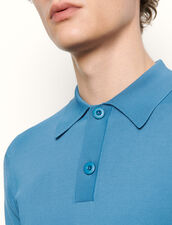 Fine knit polo shirt with short sleeves : Sweaters & Cardigans color Navy Blue