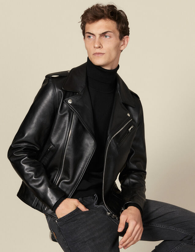 Leather  jacket : Jackets color Black