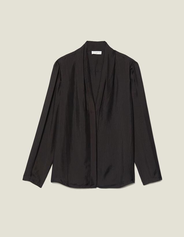 Silk Shirt With V-Neck : Tops & Shirts color Black