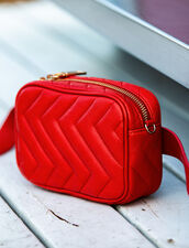 Quilted Leather Fanny Pack : Bags color Grenadine