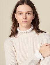 High-neck sweater and contrasting cuffs : Sweaters & Cardigans color Beige