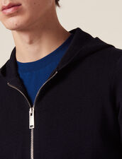 Zipped cardigan with hood : Sweaters color Navy Blue