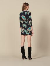 Short printed dress with draped belt : Dresses color Black