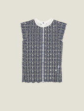 Sleeveless English Embroidery Top : Tops & Shirts color Navy Blue