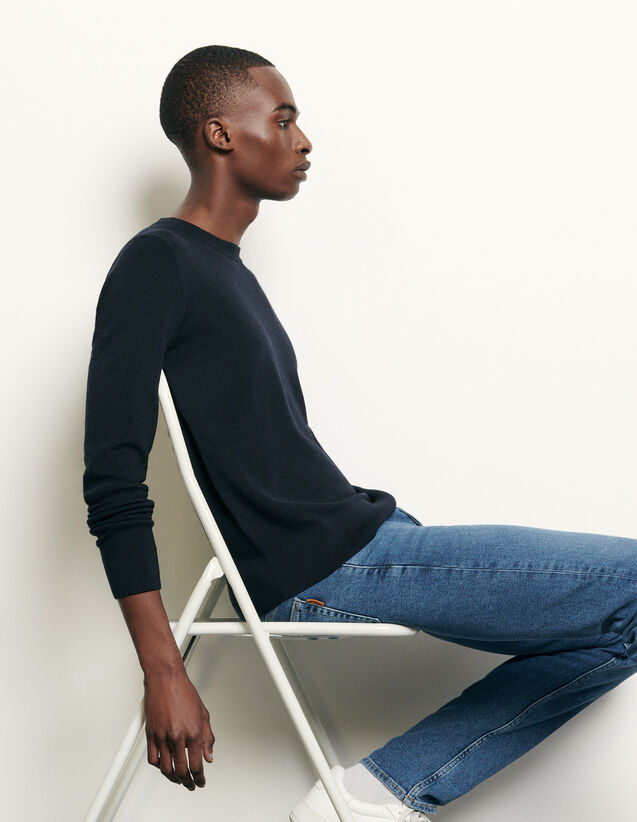 Bioche-stitch sweater : Spring Pre-Collection color Navy Blue