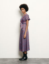 Long printed dress with tie fastening : Spring Pre-Collection color Blue