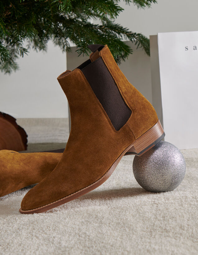 Suede Chelsea Boots : Shoes color Caramel