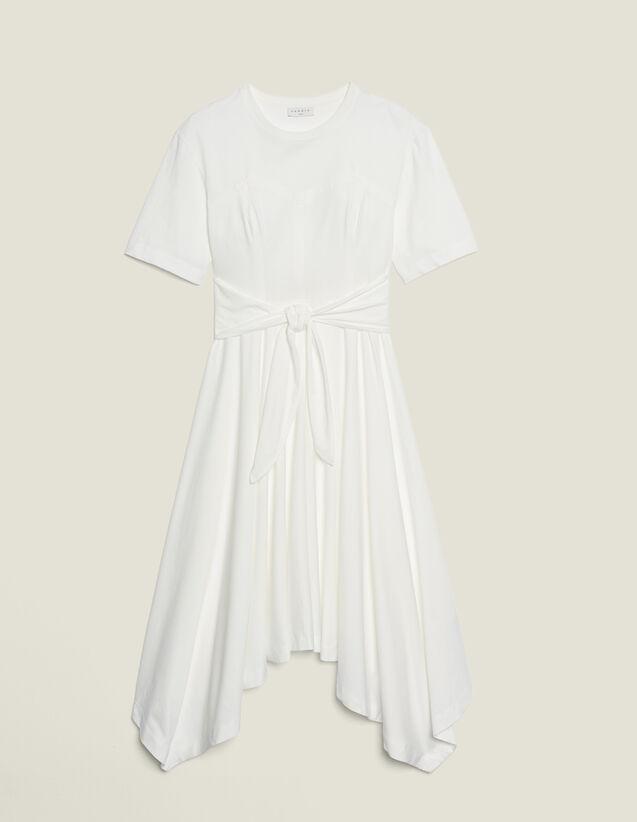 Long Asymmetrical Jersey Dress : Dresses color Ecru