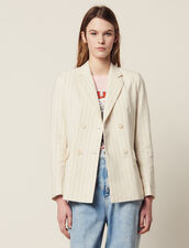 Pinstripe Tailored Jacket : Coats & Jackets color white