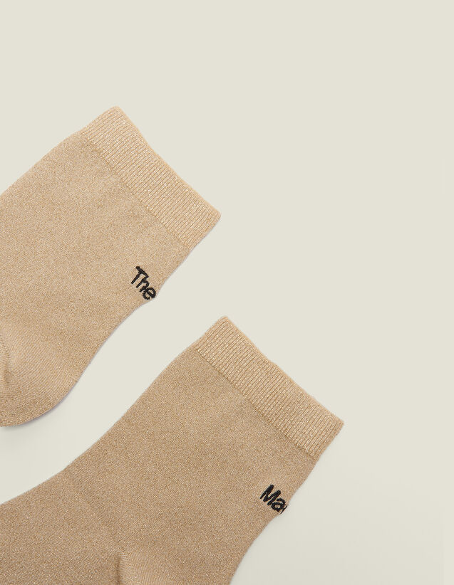 Lurex Embroidered Socks : Other Accessories color Gold