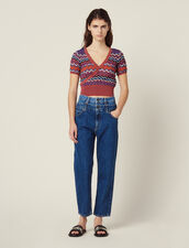Wrapover Knit Top : Sweaters color Terracotta