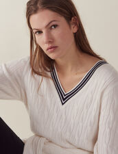 Cable Knit Sweater : Sweaters color Ecru