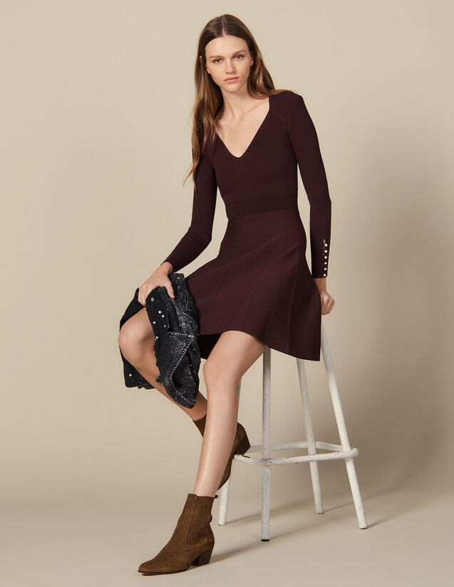 3ac951e78 Knit Dress With Jewelled Buttons : Dresses color Brown