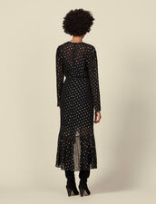 Long dress with ruffles and polka dots : Dresses color Black