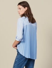 Asymmetric Shirt With Pleated Inset : Tops & Shirts color Blue sky