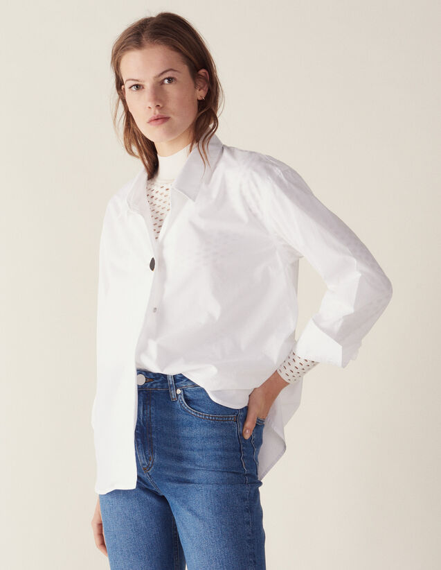 c430aa341c4a Shirt Embellished With A Jewelled Button : Tops & Shirts color white