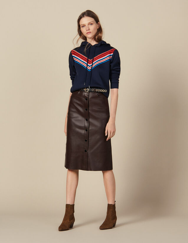 Midi Leather Skirt : Skirts color Brown