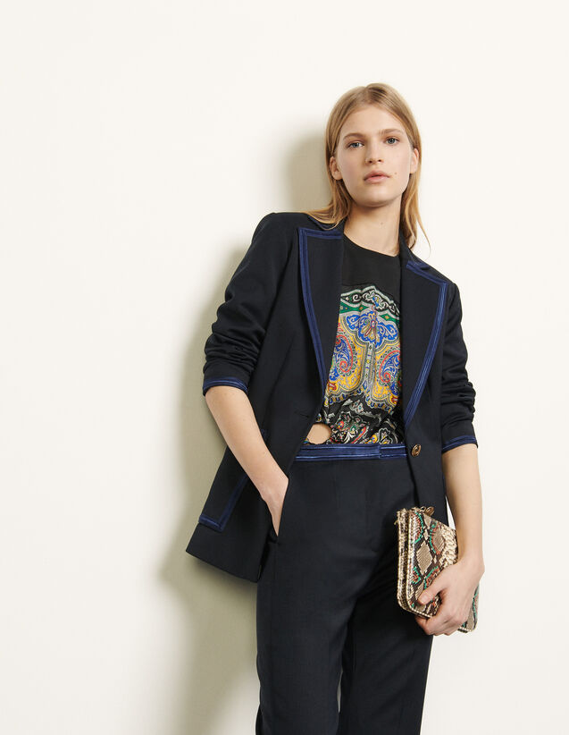 Tailored jacket with braid trims : Spring Pre-Collection color Navy Blue