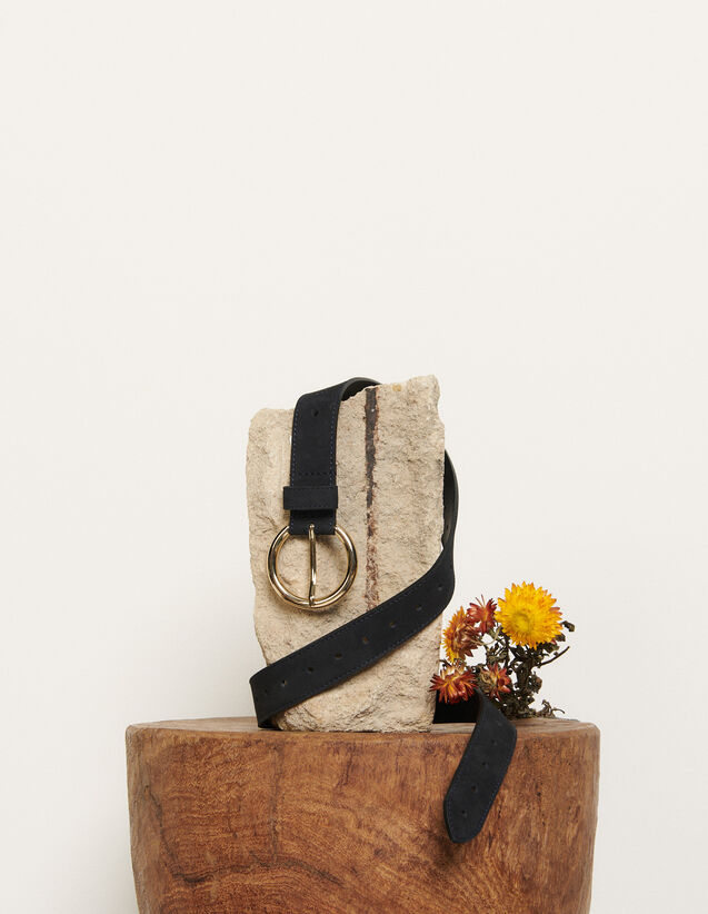 Leather belt : Spring Pre-Collection color Dark Navy