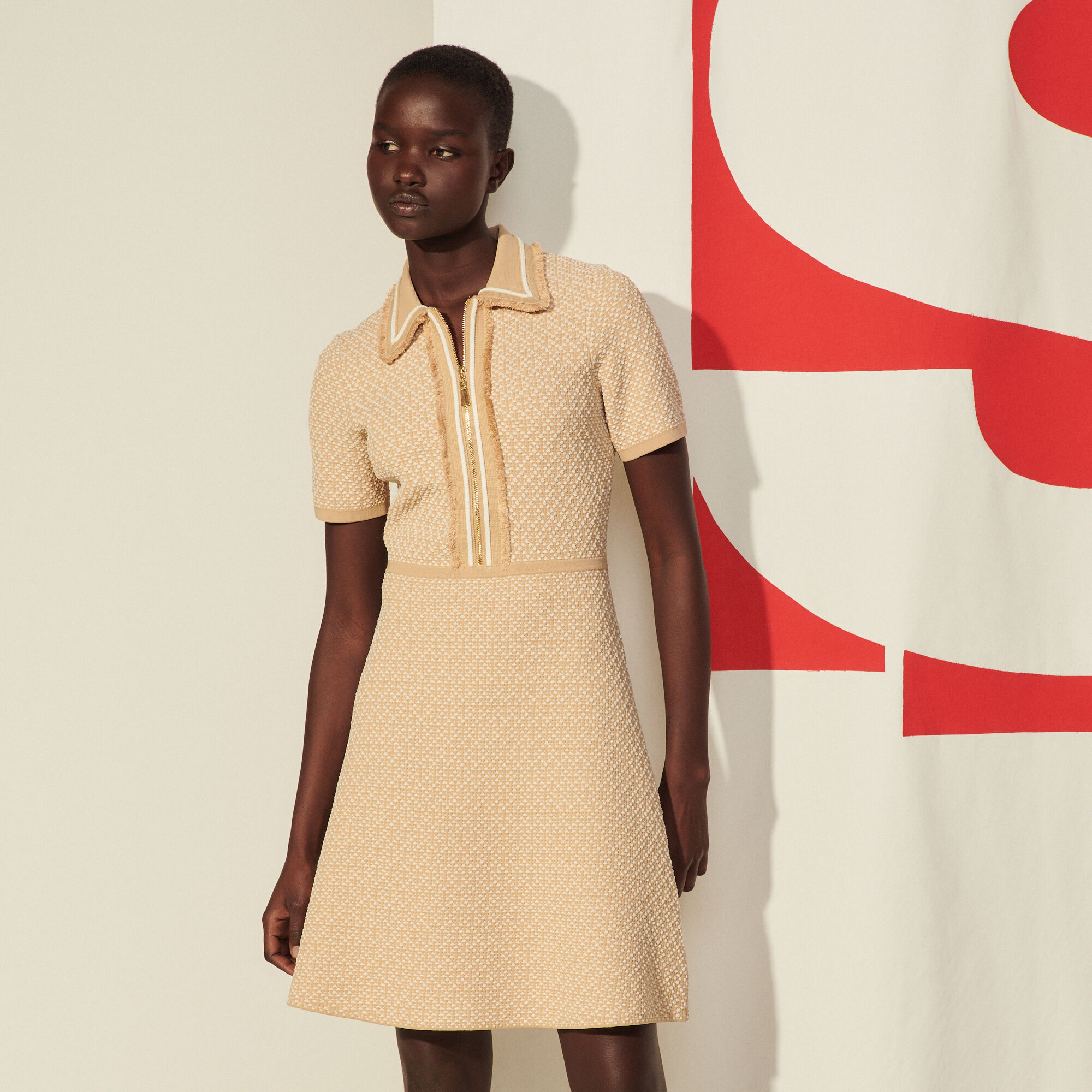 Sandro Knit dress with short sleeves