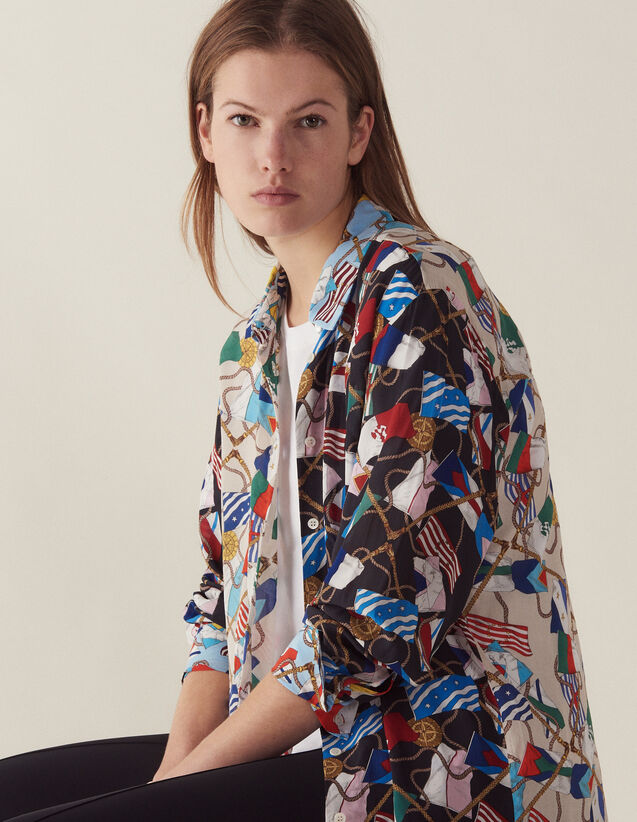 All-Over Flag Print Shirt : Tops & Shirts color Multi-Color