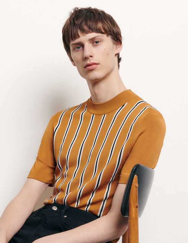 Striped knit T-shirt : Spring Pre-Collection color Camel