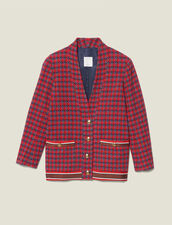 Tweed jacket with jeweled buttons : Jackets color Red