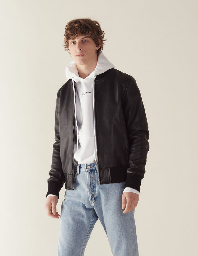 Zipped leather jacket : Jackets color Black