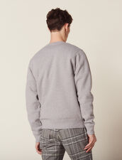 Cotton Sweatshirt With Lettering : Sweaters color Mocked Grey