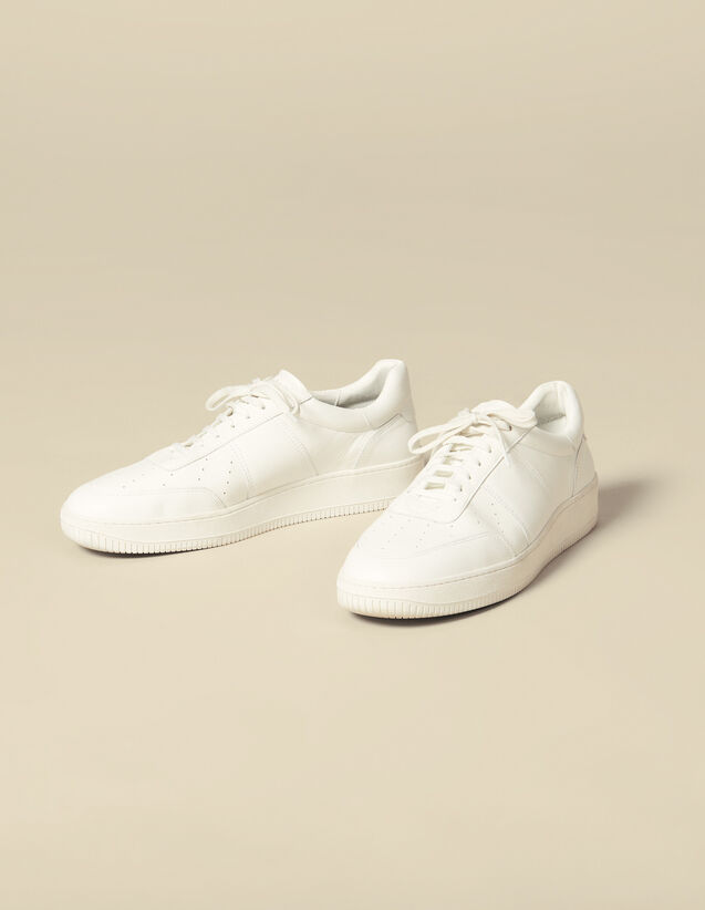 Plain leather sneakers : Shoes color white