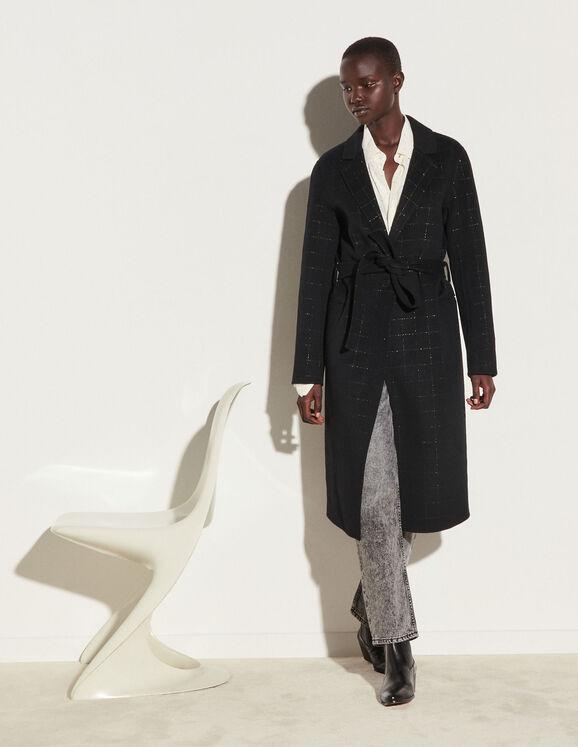 Sandro Long coat with fancy stripes
