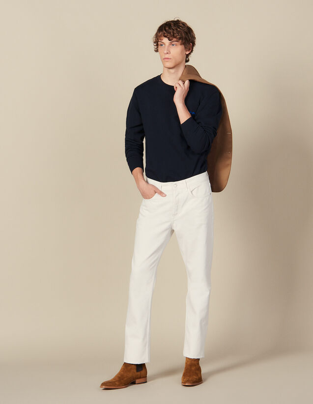 Cotton slim-fit jeans : Jeans color white