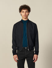 Zipped Bomber Jacket : Jackets color Navy Blue