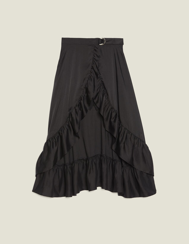 Ruffled Asymmetric Skort : Skirts color Black