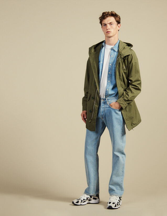 Faded Cotton Parka : Coats & Jackets color Olive Green
