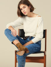 Boat Neck Sweater With Jewelled Buckle : Sweaters & Cardigans color Ecru
