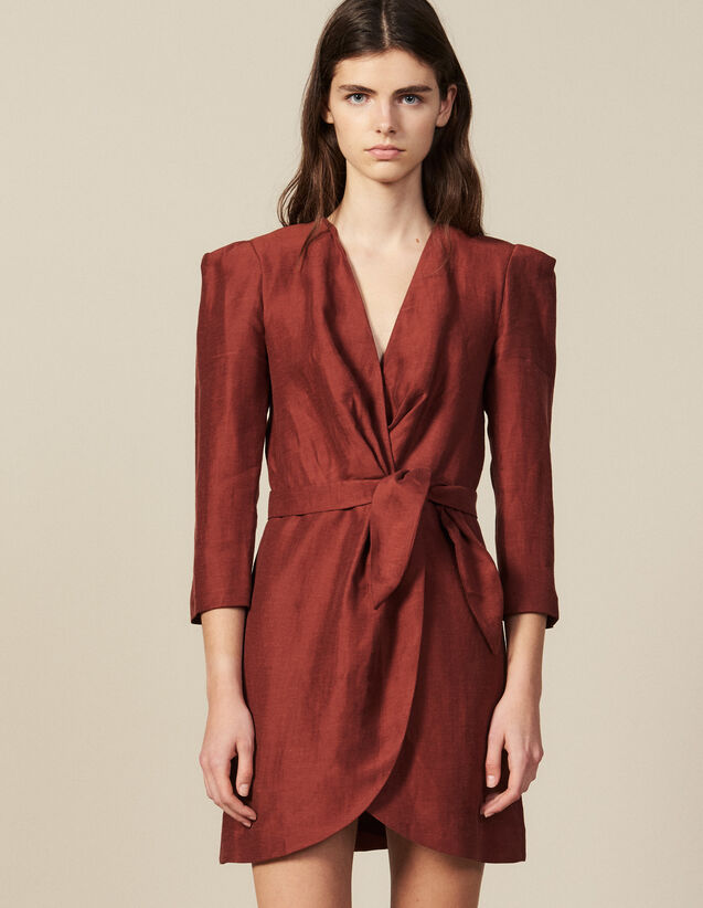 Short Wraparound Dress : Dresses color Wine