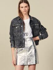 Short Silver Leather Skirt : Skirts color Silver