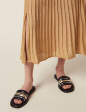 Long Knit Skirt With Pleats : Skirts color Gold