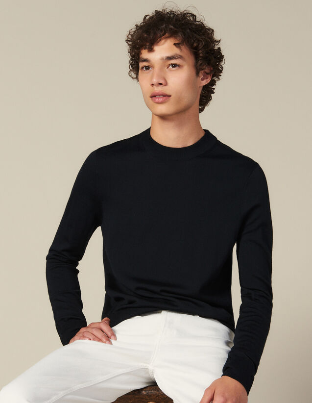 Round Neck Wool Sweater : Sweaters color Navy Blue