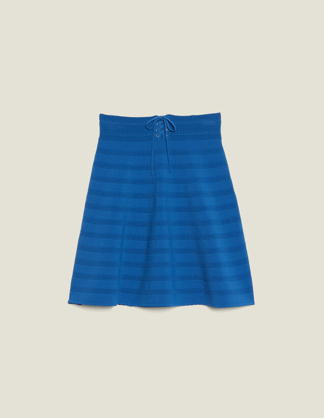 Short Flared Knit Skirt : Skirts color Blue Jean